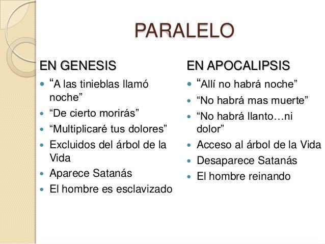 """PARALELOEN GENESIS                     EN APOCALIPSIS """"A las tinieblas llamó        """"Allí no habrá noche""""  noche""""       ..."""