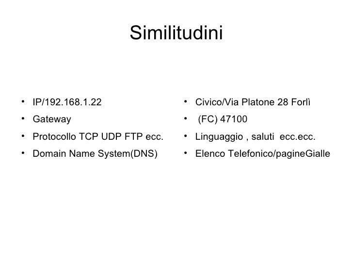 Similitudini <ul><li>IP/192.168.1.22 </li></ul><ul><li>Gateway  </li></ul><ul><li>Protocollo TCP UDP FTP ecc. </li></ul><u...
