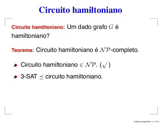 Circuito Hamiltoniano : Análise de algoritmos mais problemas np completos