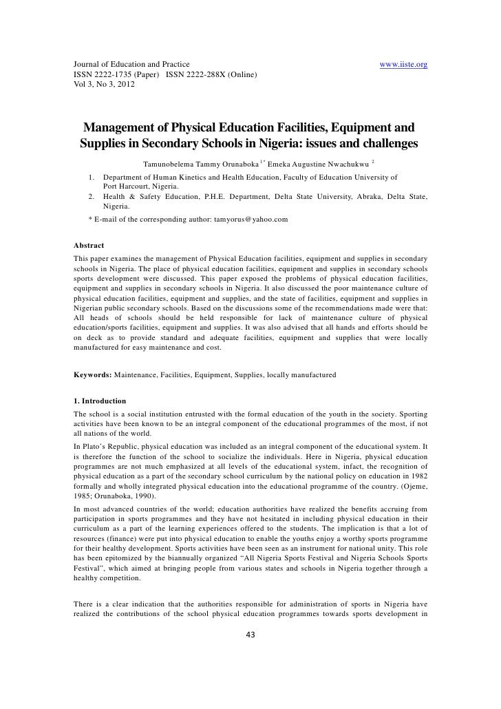 management of physical education facilities equipment