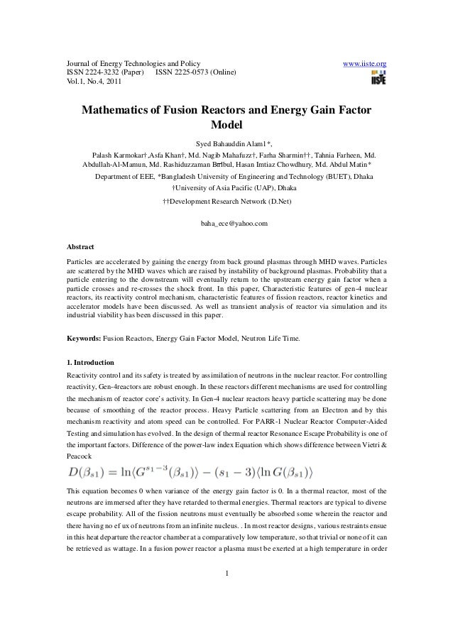 Journal of Energy Technologies and Policy www.iiste.org ISSN 2224-3232 (Paper) ISSN 2225-0573 (Online) Vol.1, No.4, 2011 1...
