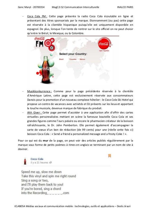 Genc Maryl - 20700354         MagC2i S2 Communication Interculturelle                   INALCO PARIS       -   Coca Cola F...