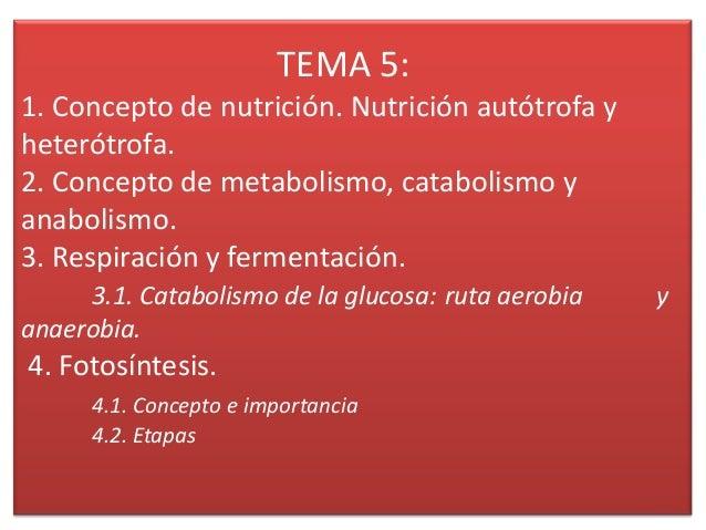 TEMA 5: 1. Concepto de nutrición. Nutrición autótrofa y heterótrofa. 2. Concepto de metabolismo, catabolismo y anabolismo....