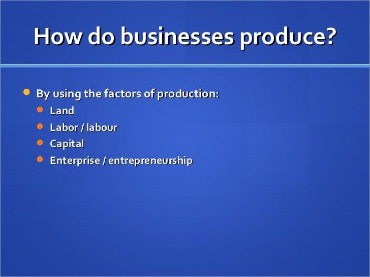 How do businesses produce? <ul><li>By using the factors of production: </li></ul><ul><ul><li>Land </li></ul></ul><ul><ul><...