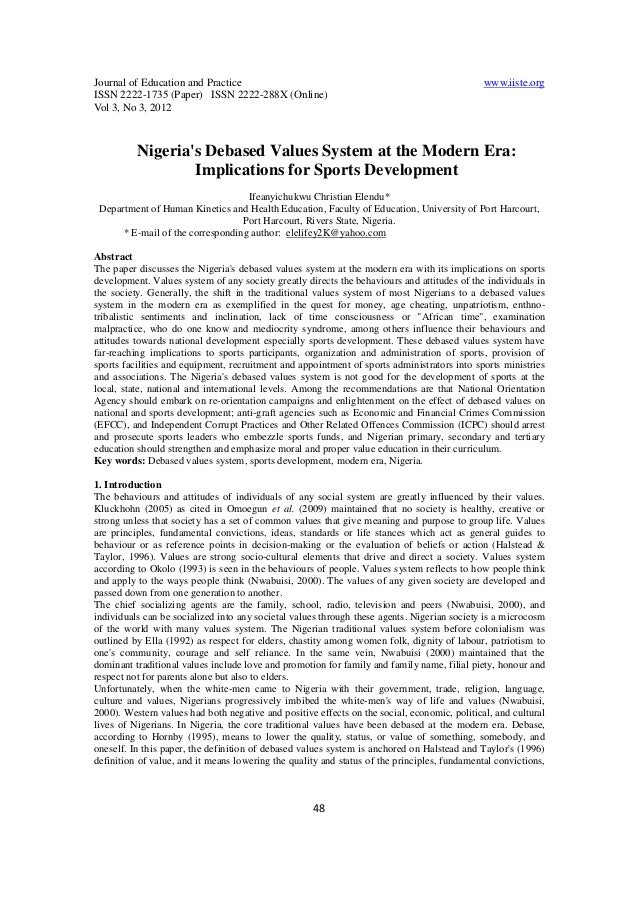 Journal of Education and Practice www.iiste.org ISSN 2222-1735 (Paper) ISSN 2222-288X (Online) Vol 3, No 3, 2012 48 Nigeri...