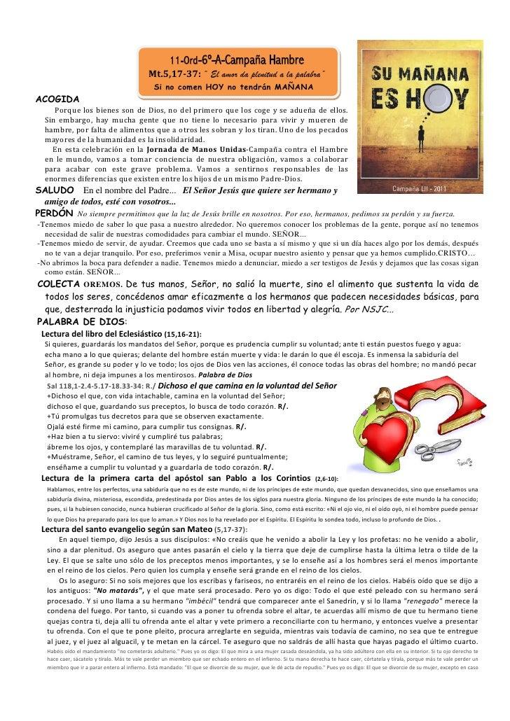 """11-Ord-6º-A-Campaña Hambre                                             Mt.5,17-37: """" El amor da plenitud a la palabra""""    ..."""