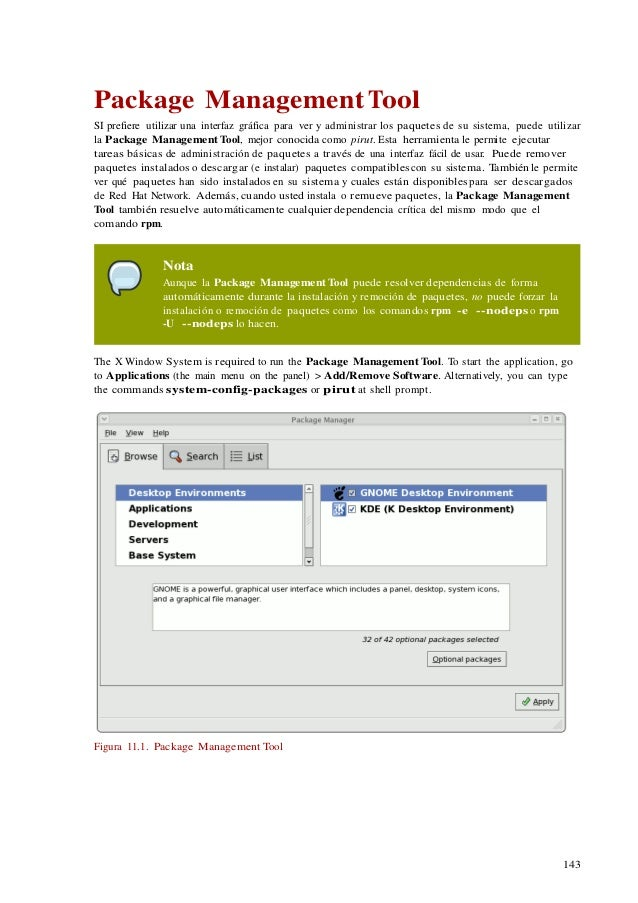 143 Package Management Tool SI prefiere utilizar una interfaz gráfica para ver y administrar los paquetes de su sistema, p...