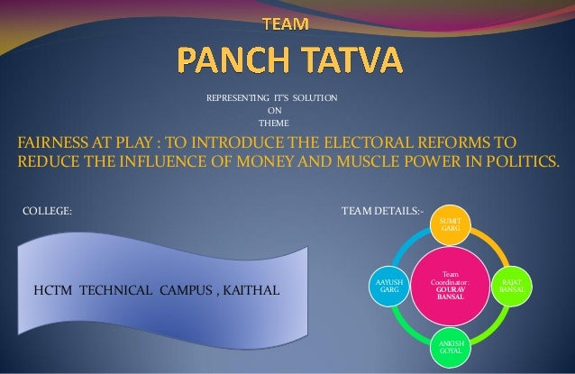 REPRESENTING IT'S SOLUTION ON THEME FAIRNESS AT PLAY : TO INTRODUCE THE ELECTORAL REFORMS TO REDUCE THE INFLUENCE OF MONEY...