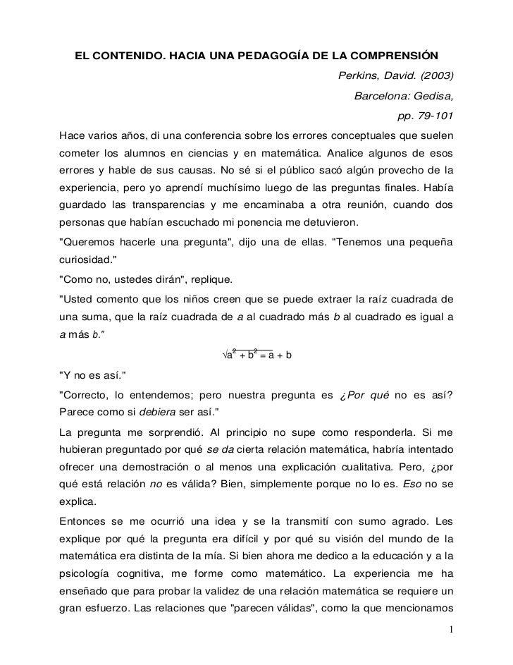EL CONTENIDO. HACIA UNA PEDAGOGÍA DE LA COMPRENSIÓN                                                        Perkins, David....