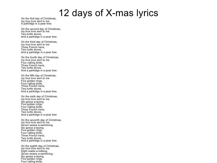 The First Day Of Christmas Lyrics.11 Pipers Piping