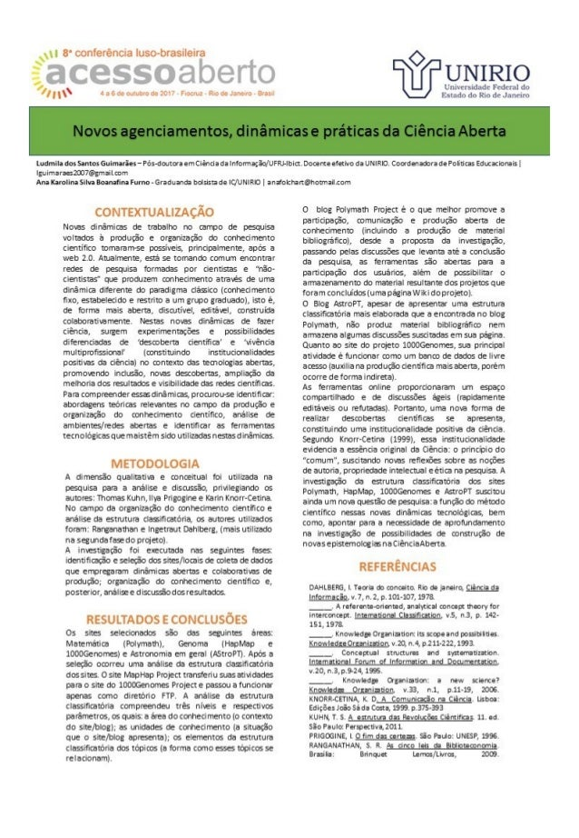 Novos agenciamentos, dinâmicas e práticas da Ciência Aberta - CONFOA 2017
