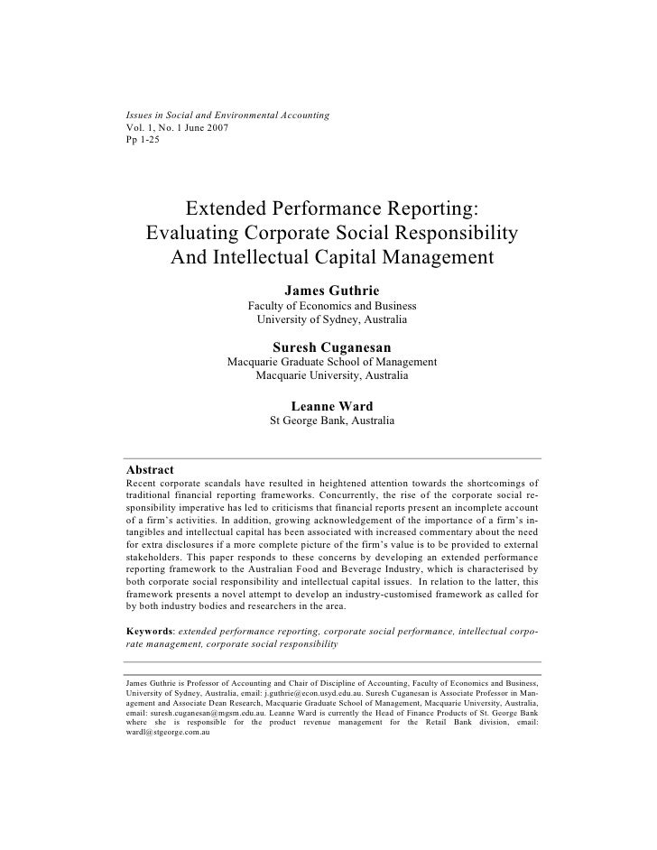 Issues in Social and Environmental AccountingVol. 1, No. 1 June 2007Pp 1-25         Extended Performance Reporting:     Ev...