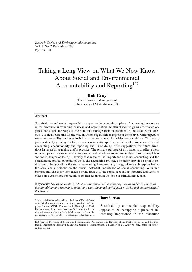 Issues in Social and Environmental AccountingVol. 1, No. 2 December 2007Pp. 169-198    Taking a Long View on What We Now K...