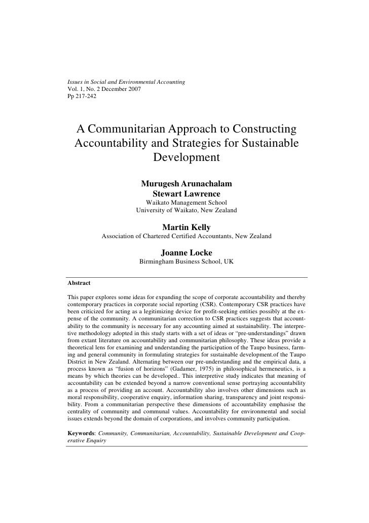 Issues in Social and Environmental AccountingVol. 1, No. 2 December 2007Pp 217-242  A Communitarian Approach to Constructi...