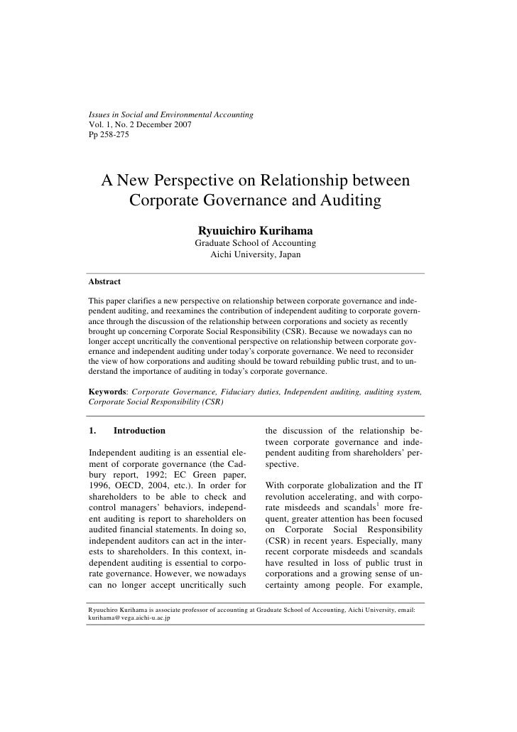 Issues in Social and Environmental AccountingVol. 1, No. 2 December 2007Pp 258-275     A New Perspective on Relationship b...