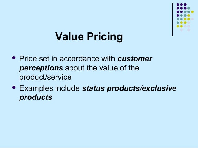 pricing strategy examples Pricing strategy, including pricing objectives,  for example, setting the price too low may risk a price war that may not be in the best interest of either side .