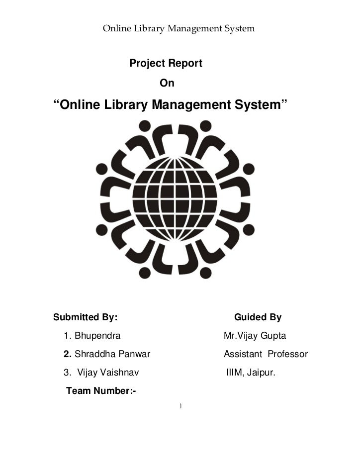 """Online Library Management System                 Project Report                       On""""Online Library Management System""""..."""