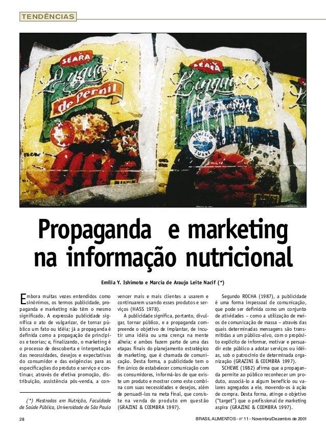 28 BRASIL ALIMENTOS - n° 11 - Novembro/Dezembro de 2001 Embora muitas vezes entendidos como sinônimos, os termos publicida...