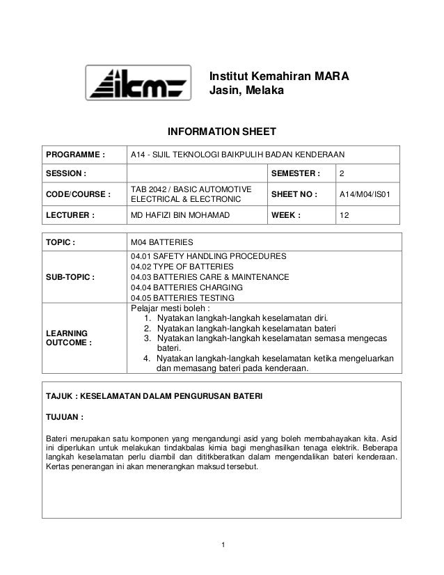 Institut Kemahiran MARA                                          Jasin, Melaka                               INFORMATION S...