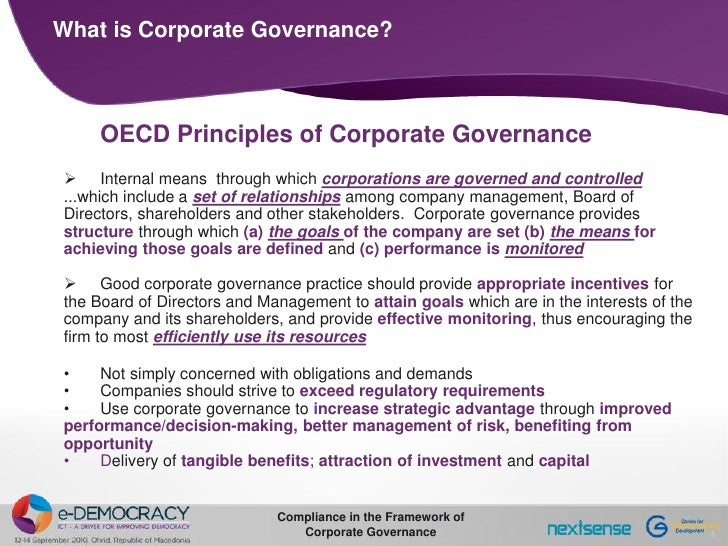 History and principles of corporate governance
