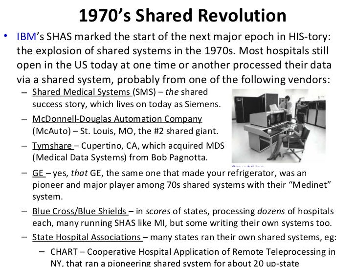 1970's Shared Revolution <ul><ul><li>Shared Medical Systems  (SMS) –  the  shared success story, which lives on today as S...