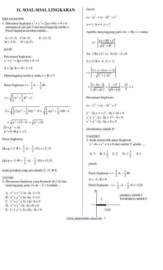 www.matematika-sma.com 1 11. SOAL-SOAL LINGKARAN EBTANAS1999 1. Diketahui lingkaran x 2 + y 2 + 2px +10y + 9 = 0 mempunyai...