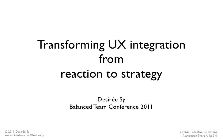 Transforming UX integration                                  from                           reaction to strategy          ...