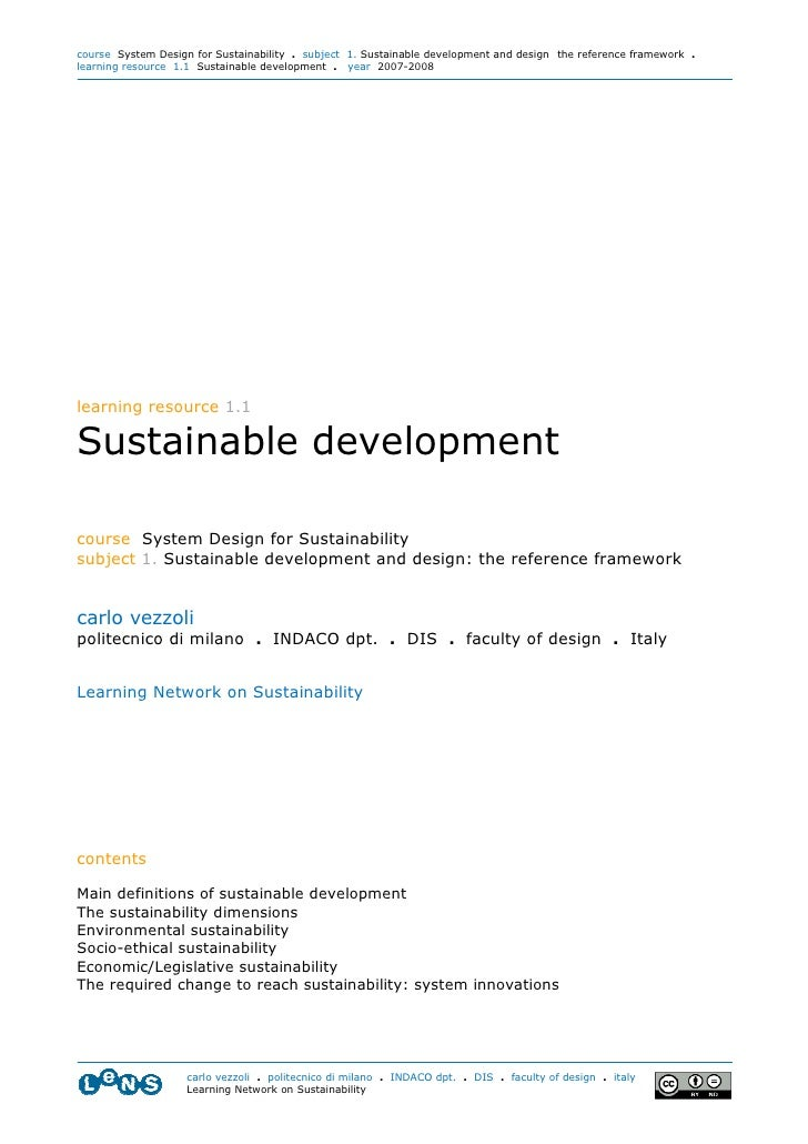 course System Design for Sustainability . subject 1. Sustainable development and design: the reference framework . learnin...