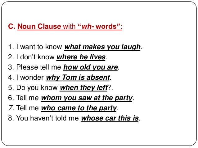 11 syntax clauses – Noun Clauses Worksheet