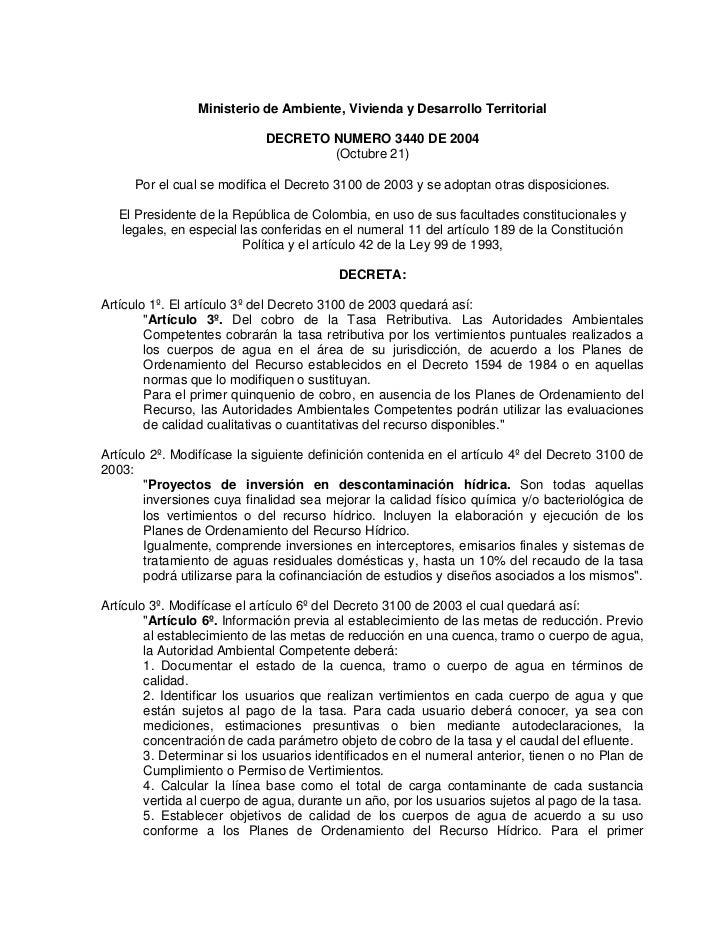Ministerio de Ambiente, Vivienda y Desarrollo Territorial                            DECRETO NUMERO 3440 DE 2004          ...