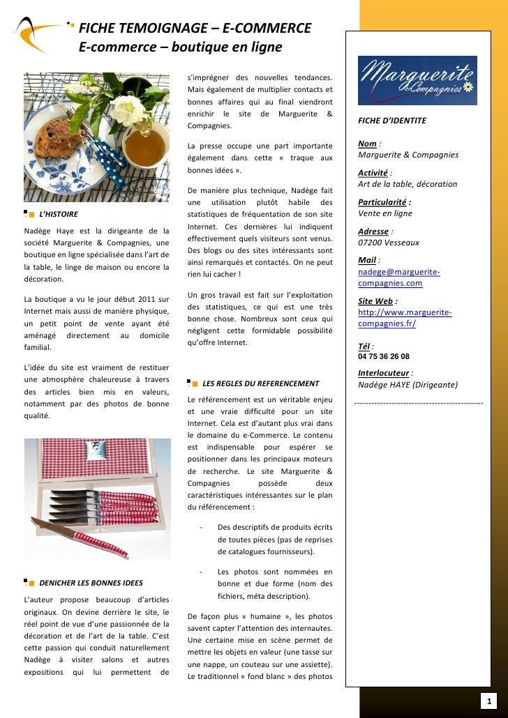 FICHE TEMOIGNAGE – E-COMMERCE                 E-commerce – boutique en ligne                                              ...