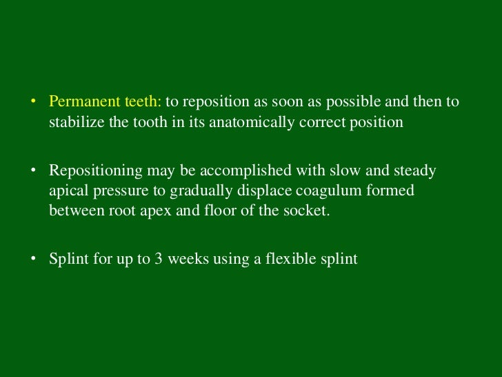 Diagnosis• Clinical and radiographic findings reveal that the tooth is not  present in the socket or the tooth already has...
