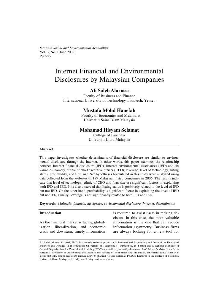 Issues in Social and Environmental AccountingVol. 3, No. 1 June 2009Pp 3-25            Internet Financial and Environmenta...