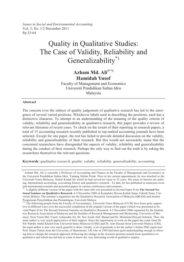 Issues in Social and Environmental AccountingVol. 5, No. 1/2 December 2011Pp 25-64                Quality in Qualitative S...