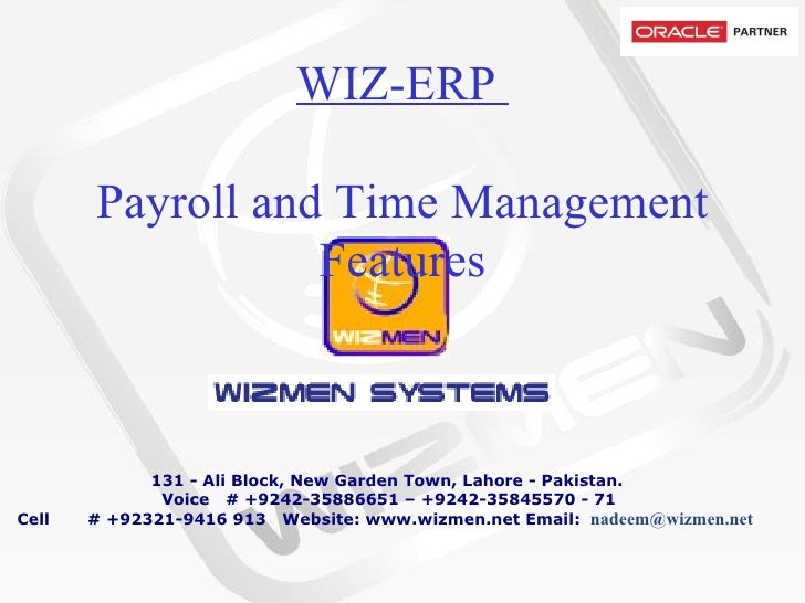 WIZ-ERP  Payroll and Time Management Features