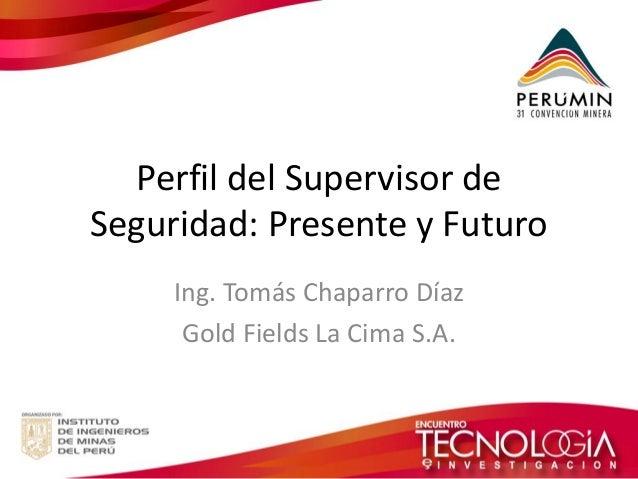 Perfil del Supervisor de Seguridad: Presente y Futuro  Ing. Tomás Chaparro Díaz  Gold Fields La Cima S.A.