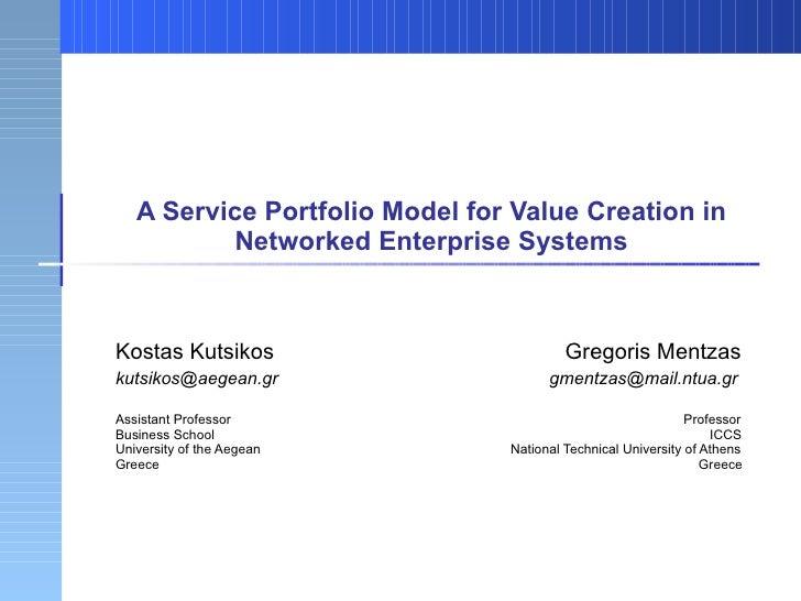 A Service Portfolio Model for Value Creation in Networked Enterprise Systems Kostas Kutsikos    Gregoris Mentzas kutsikos@...