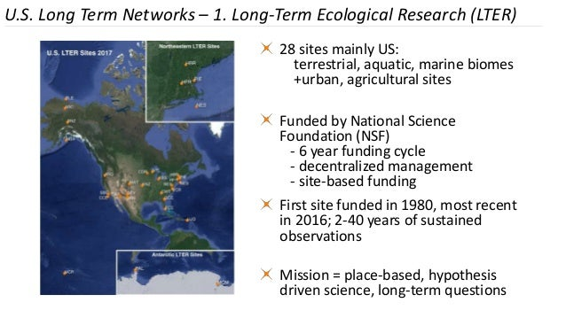 28 sites mainly US: terrestrial, aquatic, marine biomes +urban, agricultural sites Funded by National Science Foundation (...