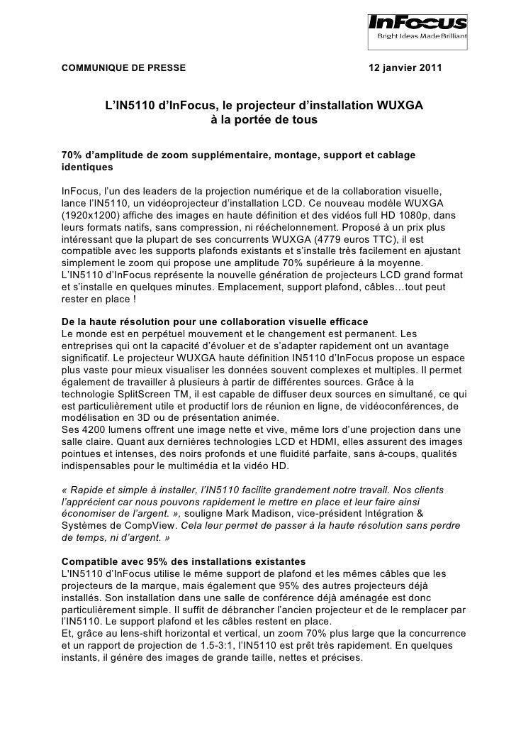 COMMUNIQUE DE PRESSE                                                 12 janvier 2011         L'IN5110 d'InFocus, le projec...