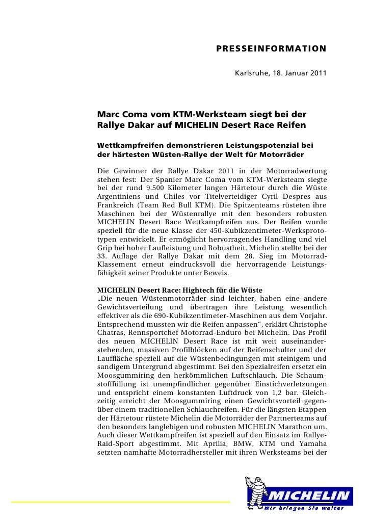 PRESSEINFORMATION                                        Karlsruhe, 18. Januar 2011Marc Coma vom KTM-Werksteam siegt bei d...