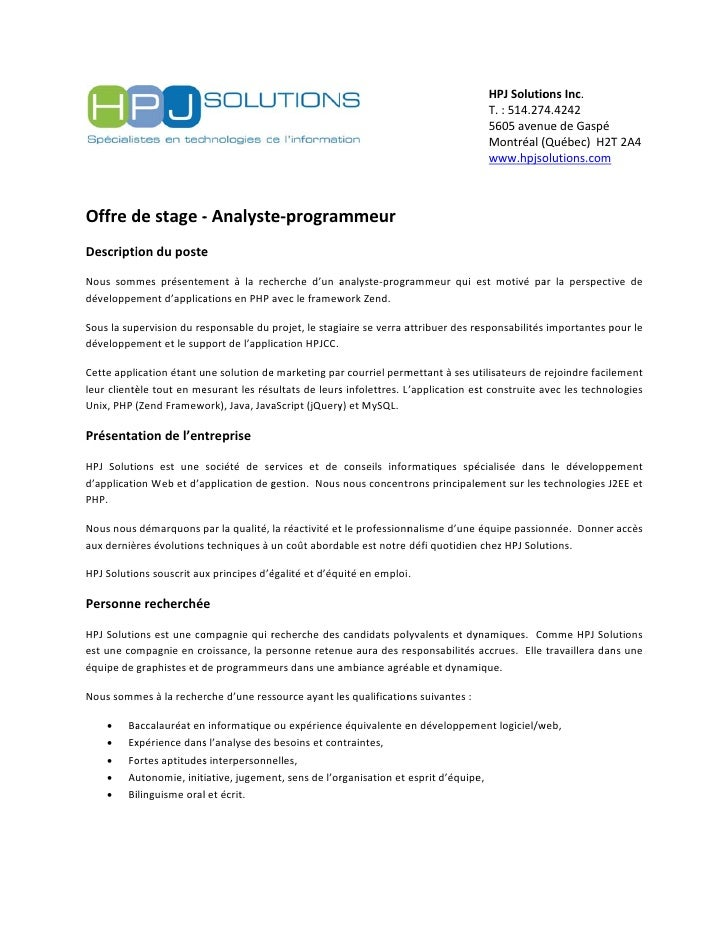lettre de motivation web developpeur Offre de stage Analyste Programmeur PHP à Montréal lettre de motivation web developpeur