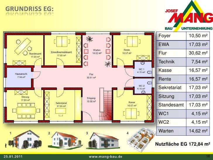 GRUNDRISS EG:<br />1<br />3<br />4<br />2<br />Nutzfläche EG 172,84 m²<br />25.01.2011<br />www.mang-bau.de<br />16<br />
