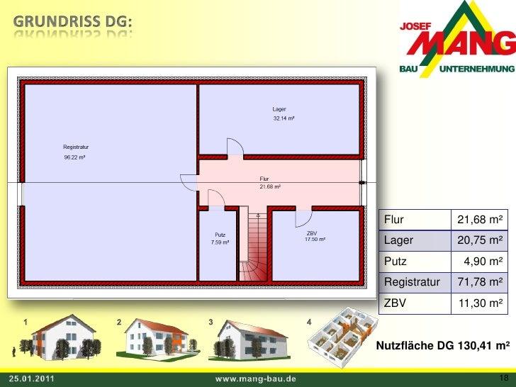 GRUNDRISS DG:<br />1<br />3<br />4<br />2<br />Nutzfläche DG 130,41 m²<br />25.01.2011<br />www.mang-bau.de<br />18<br />