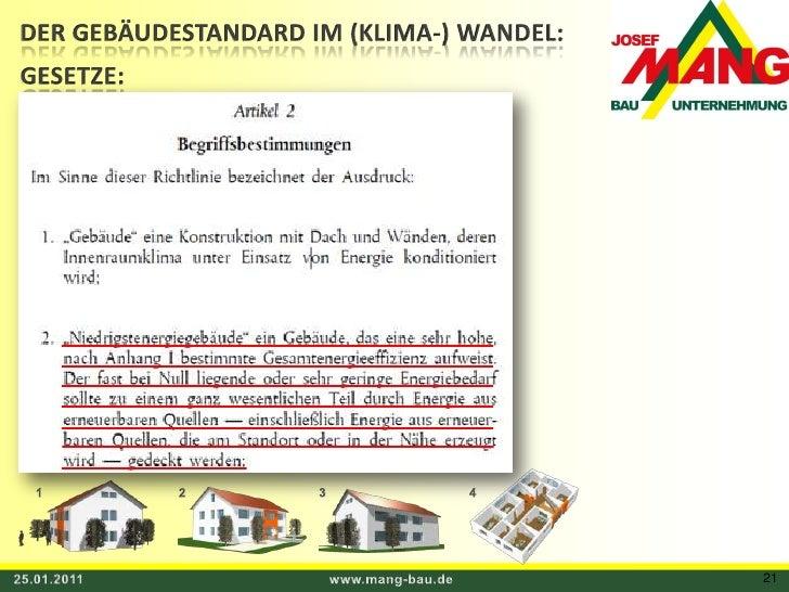 DER GEBÄUDESTANDARD IM (KLIMA-) WANDEL:<br />GESETZE:<br />1<br />3<br />4<br />2<br />25.01.2011<br />www.mang-bau.de<br ...