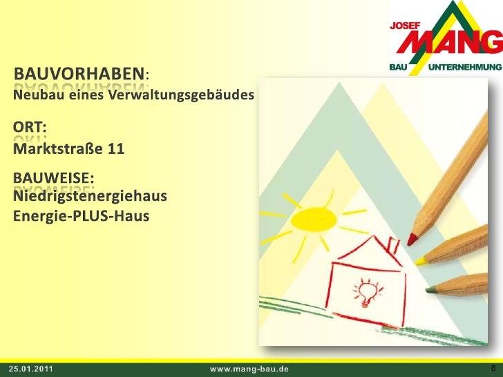 BAUVORHABEN:<br />Neubau eines Verwaltungsgebäudes  <br />ORT:<br />Marktstraße 11<br />BAUWEISE:<br />Niedrigstenergiehau...