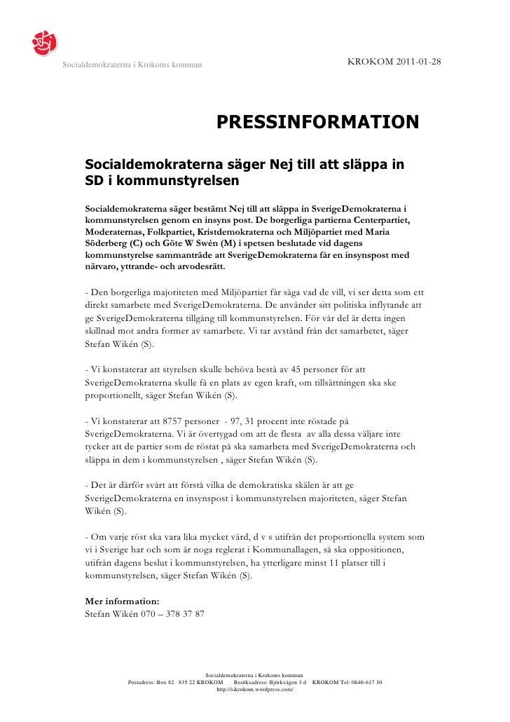 Socialdemokraterna i Krokoms kommun                                                               KROKOM 2011-01-28       ...