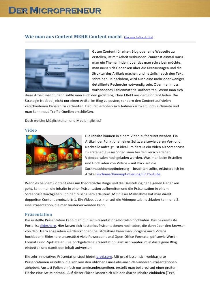 Wie man aus Content MEHR Content macht                          Link zum Online-Artikel                                   ...