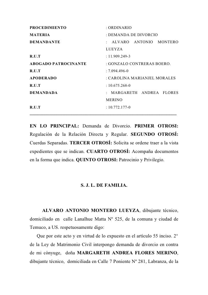 Demanda de divorcio unilateral for Consulta demanda de empleo