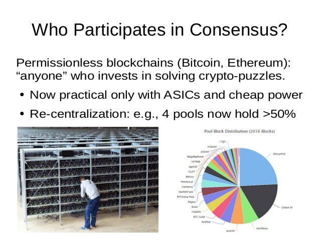 """Who Participates in Consensus? Permissionless blockchains (Bitcoin, Ethereum): """"anyone"""" who invests in solving crypto-puzz..."""