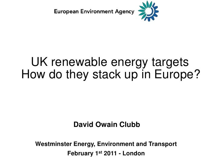 UK renewable energy targets<br />How do they stack up in Europe?<br />David OwainClubb<br />Westminster Energy, Environmen...